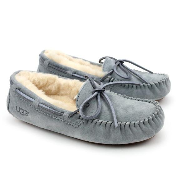 17e06d1e530 UGG Dakota Metallic Geyser Grey Moccasins Slippers Boutique